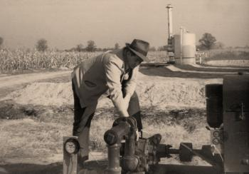 "Company founder Frank W. ""Pat"" Murphy out in the oil fields."